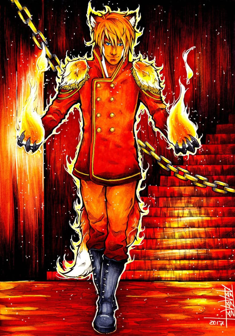 first artwork of the character kitsune from the movie blazing shadows