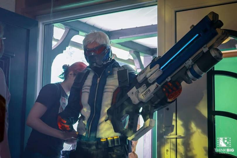 Thomas Geerlings as Soldier76 behind the scenes of the Overwatch movie Lion's Return
