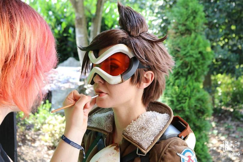 Actress Amy Nickell as Tracer behind the scenes of the Overwatch movie Lion's Return