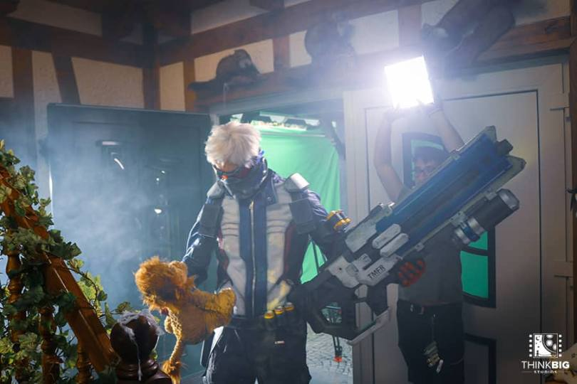 Thomas Geerlings as Soldier76 behind the scenes of the Overwatch movie Lion's Return