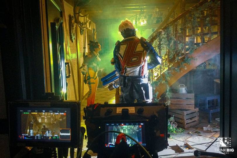 Tracer and Soldier76 behind the scenes of the Overwatch movie Lion's Return