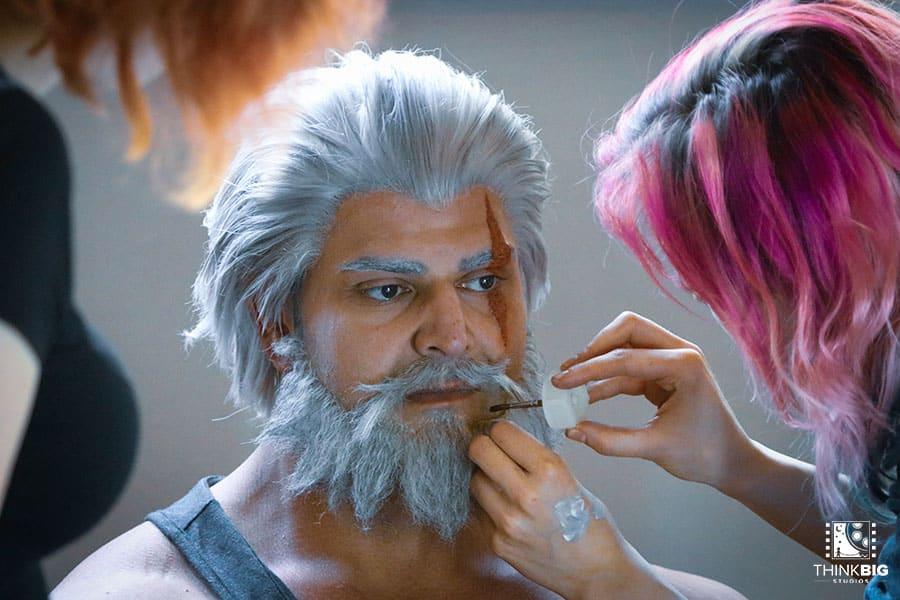 Bodybuilder Vittorio Pirbazari as Reinhardt behind the scenes of the Overwatch movie Lion's Return