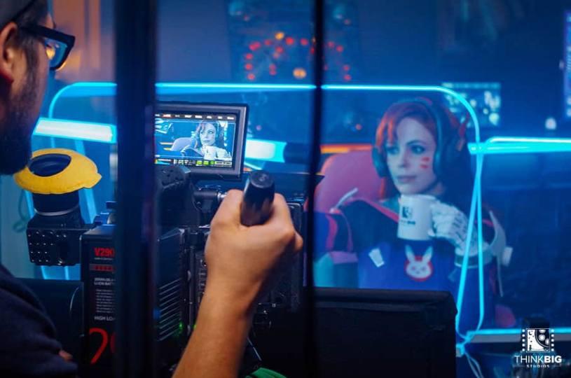 German Cosplayer Calssara Cosplay as D.Va behind the scenes of the Overwatch movie Lion's Return
