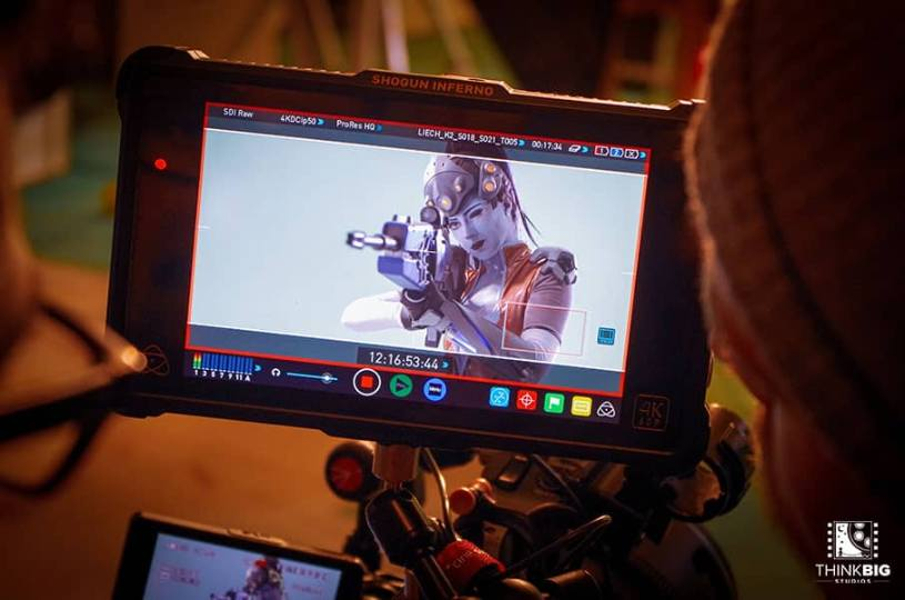 Actress ShiSha Rainbow as Widowmaker behind the scenes of the Overwatch movie Lion's Return