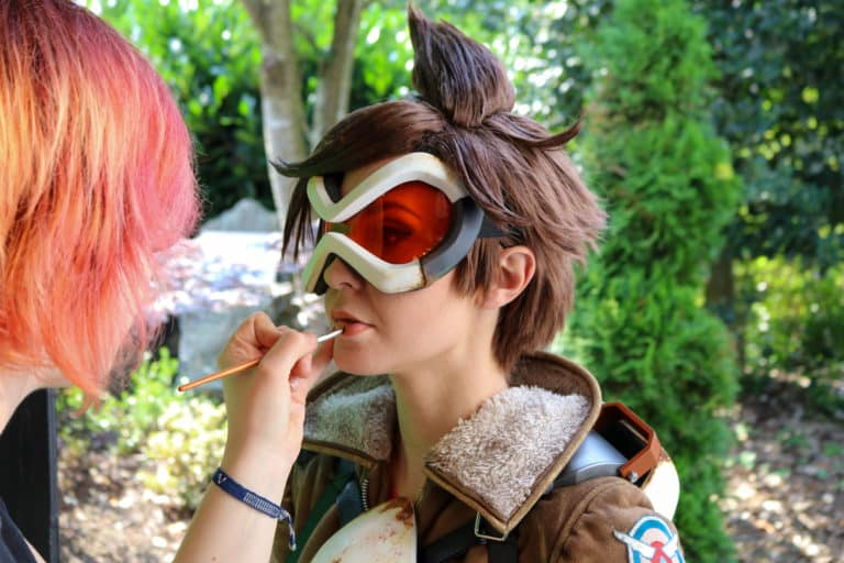 makeup for tracer actress at filmset of overwatch movie