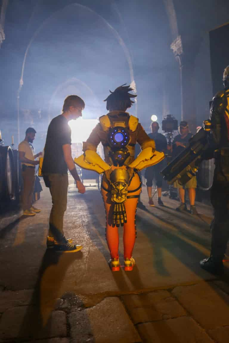 amy nickell tracer actress on overwatch filmset