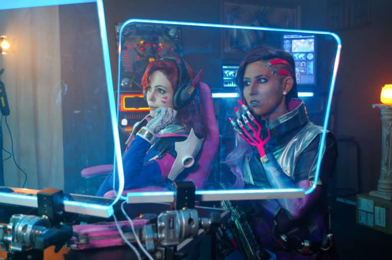 dva and sombra acrtress behind the scenes of overwatch fan film